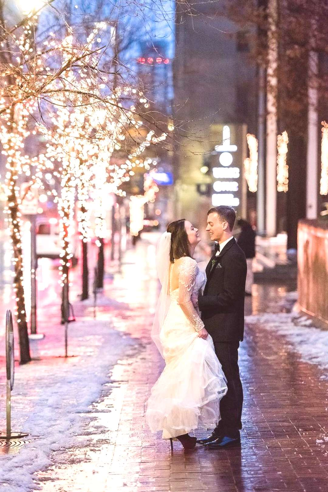 Downtown pittsburgh winter wedding night photo by Leeann Marie Photography. See more wedding ins