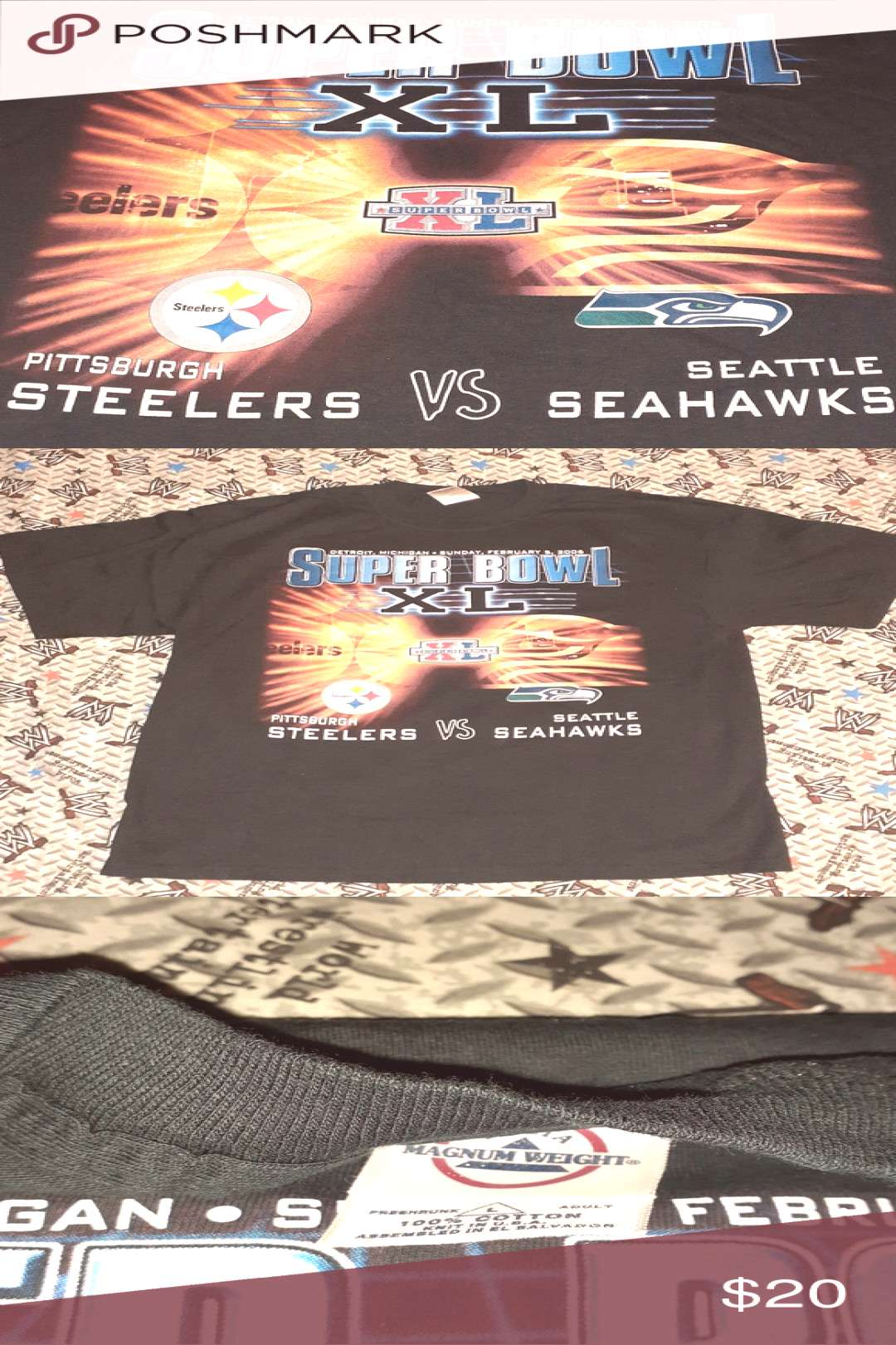 2006 Super Bowl Pittsburgh Seattle Mens vintage shirt Great condition Very Nice ... 2006 Super Bo