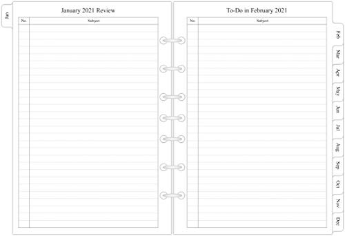 2021 Monthly Planner Refill 5-1/2quot x 8-1/4quot, January 2021 to