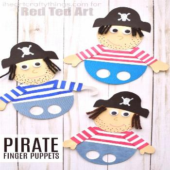 Awesome Pirate Finger Puppets - Red Ted Art -  What a great idea. Perfect for the next one with sma