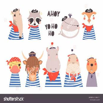 Big set of cute nautical animals in sailors, pirates costumes. Isolated objects on white background
