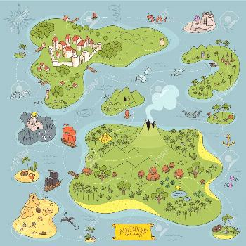 Board game kit. Adventure island map. Fantasy area. Pirates, sea monsters, mountains and city. Cart