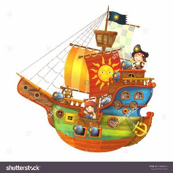 Cartoon pirate ship with happy pirates with still hot cannons on white background - illustration fo