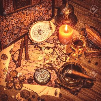 Closeup on beautiful buccaneer treasure background, luxury pirates alcohol drink, cigars, compass,