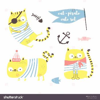 Collection with three funny cat - pirates isolated on white background. Illustration for children,