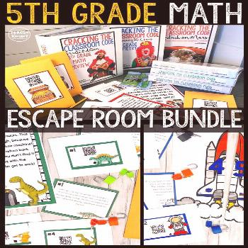 Cracking the Classroom Code™ 5th Grade Math Bundle Escape Room Games Engage your fifth grade stud