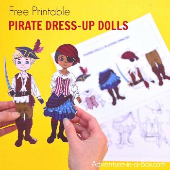 Dress up these free printable paper dolls as pirates! A great pirate party favour idea for kids.