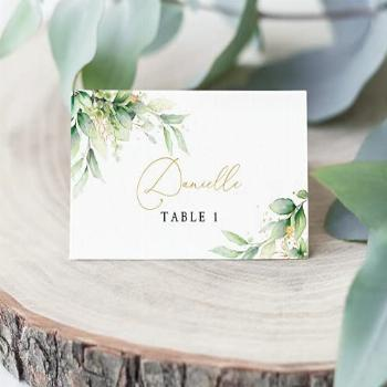 Gold amp Greenery Place Cards | Escort Seating Cards | Wedding