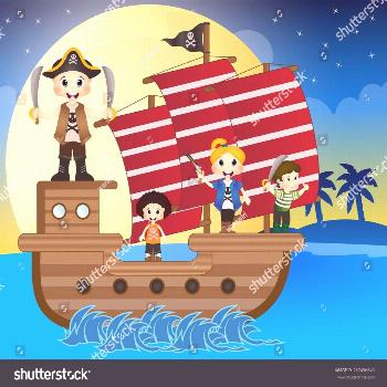 Illustration of little pirates sail with the ship ,