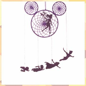 Items similar to peter pan, tinkerbell, neverland pirates, mickey mouse, dream catcher, mobile, nev