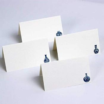 Nancy Nikko Place Cards with Blue and White Ginger Jars for