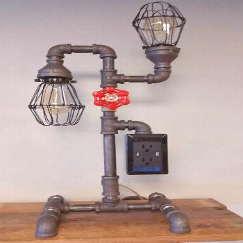 New (never used) - Gas pipe lamp with USB and 110 charging station water valve is the switch