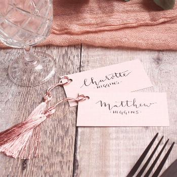 Our Blush Pink Escort Tags are elegantly handwritten with modern calligraphy, perfect for a fresh a