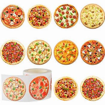 Outus 400 Pieces Pizza Roll Stickers Round Pizza Stickers