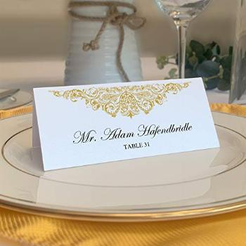 Paisley Printable Place Cards, Gold (Choose Color), Set of