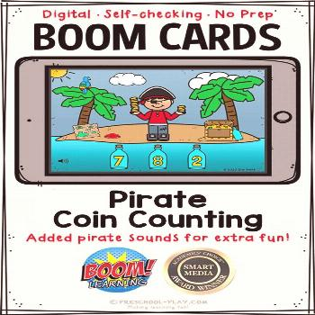Pirate Coin Counting Boom Cards™ | Distance Learning | Preschool Play Grr! Argh! With this Pirate