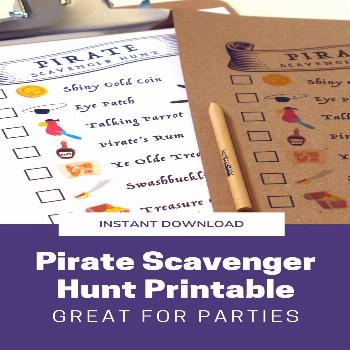 Pirate Scavenger Hunt Printable Planning a pirate party? Hide pirate-themed toys around the house,