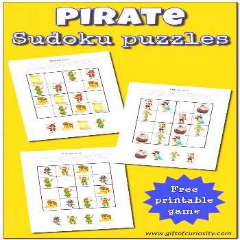Pirate Sudoku Puzzles FREE Pirate Sudoku Puzzles for kids || Gift of Curiosity