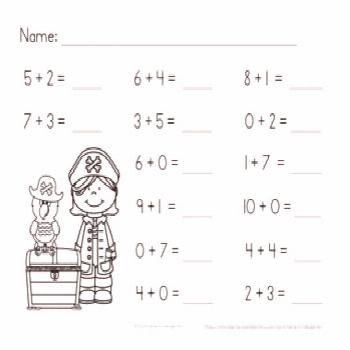 Pirates Addition Within 10 No-Prep Printables Independent Practice Packet
