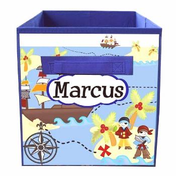 Pirates at Sea Fabric Bin Boy's Personalized Bedroom Nursery Organizer for T... ...#bedroom