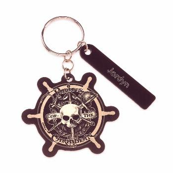 Pirates of the Caribbean Ship's Wheel Leather Keychain - Personalizable  shopDisney
