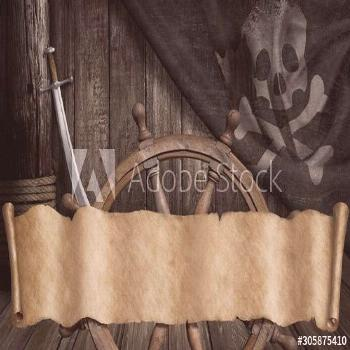 Pirates ship deck with jolly roger flag and old paper scroll or map banner 3d illustration ,