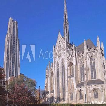 PITTSBURGH - NOVEMBER 2019: University of Pittsburgh campus with Cathedral of Learning and Heinz Me