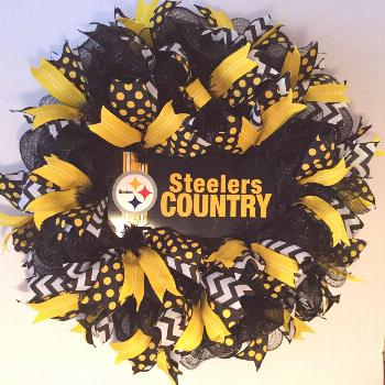 Pittsburgh Steelers Wreath made by Bay Wreath Designs, Deco Mesh Sport Wreath, S... Pittsburgh Stee