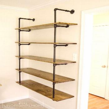 Really detailed step-by-step tutorial to make your own industrial pipe shelving - this is an afford