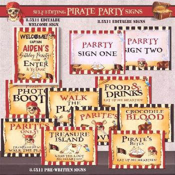 SELF-EDITING Pirate Party Favor Tags-Pirate Birthday-Pirate Captain Birthday nstant Download! SELF-