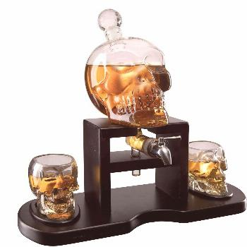 Skull Decanter Set Skull whiskey decanter set with 2 skull glasses and mahogany wooden base with sp