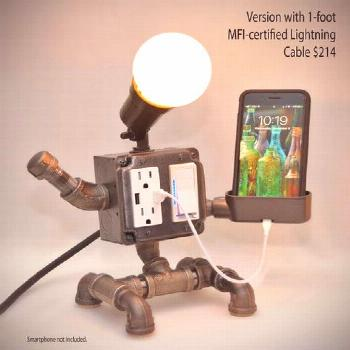 Steampunk Industrial Robot Pipe Desk Lamp with Dimmer 2 AC &   Etsy