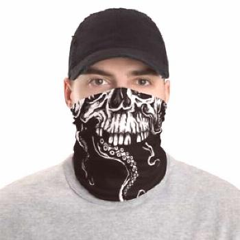 Tentacles Skull Face Cover Pirate Kraken Neck Gaiter Sailor Washable Scarf MADE IN USA Washable Nec