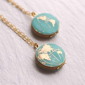 This beautiful locket is vintage brass, which has been carefully hand enamelled to turn the sea int