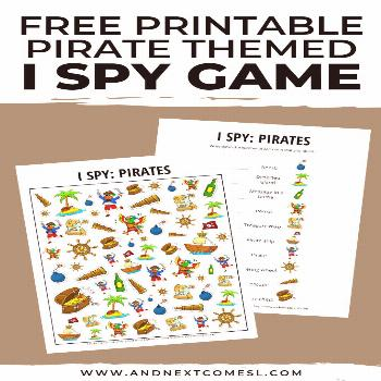 This free pirate I spy printable game is perfect for kids to celebrate talk like a pirate day! They