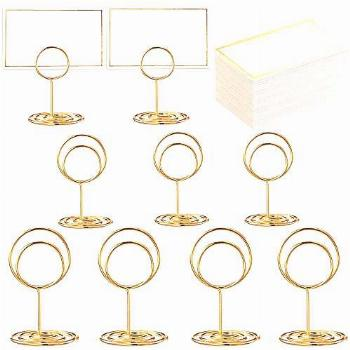 Toncoo 24 Pcs Premium Gold Table Number Holders and 24 Pcs