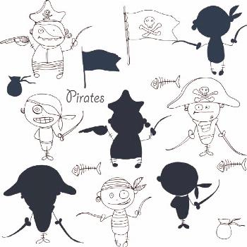Vector little funny pirates on white background with silhouettes - Stock ,