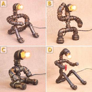 Water pipes industrial retro minimalist personality study bed ornament personality creative robot i