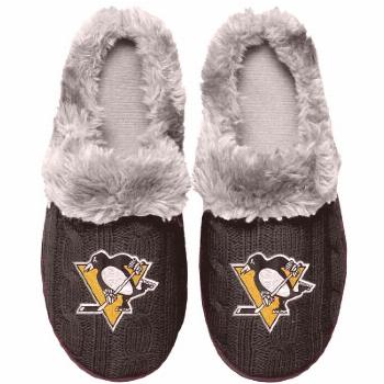 Women's Pittsburgh Penguins Cable Knit Slide Slippers