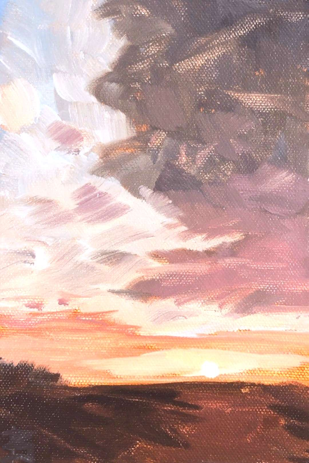 5x7 inch Pittsburgh Pennsylvania sunset sky landacape oil painting on canvas panel varnished expres
