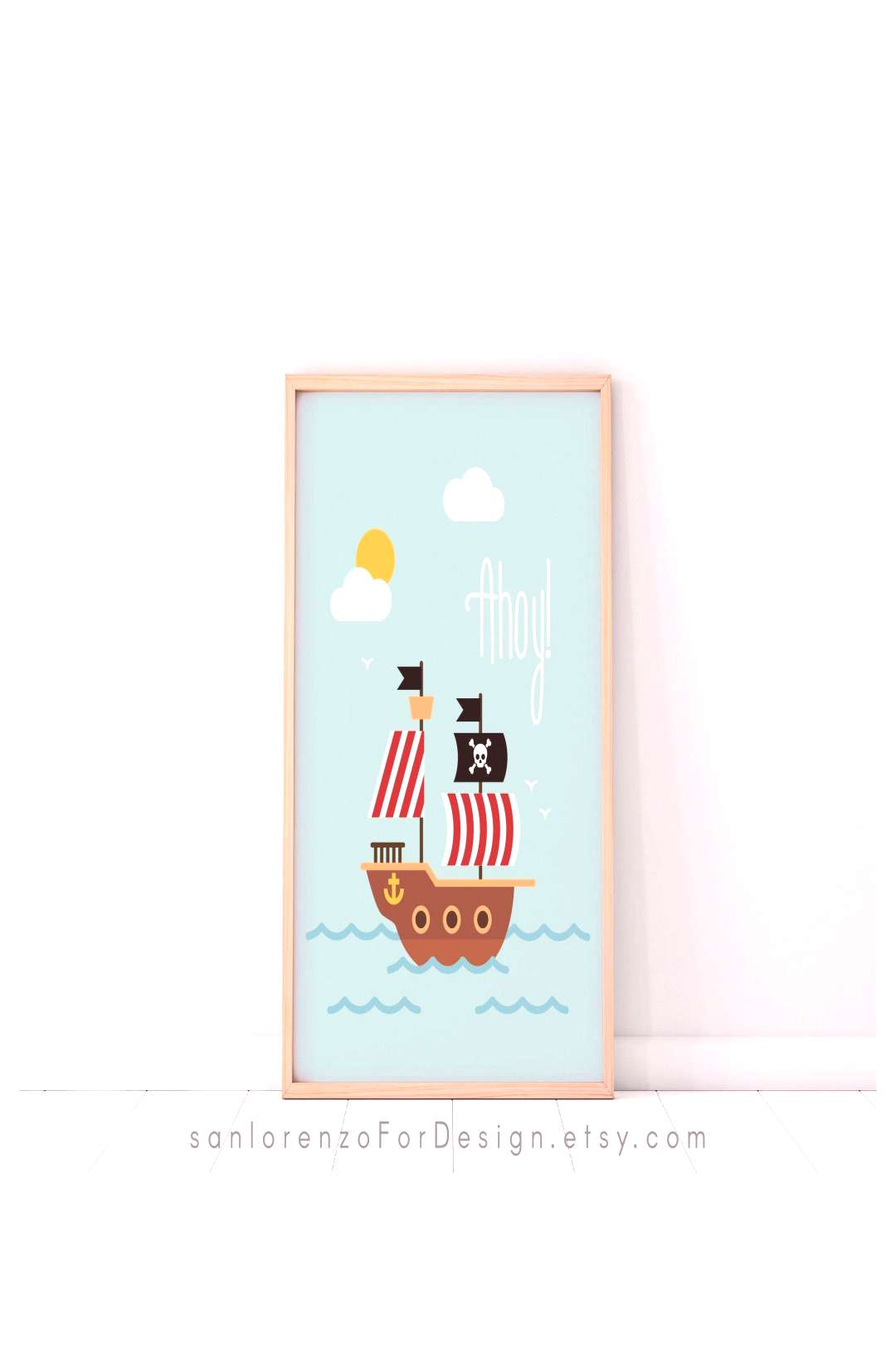 Ahoy! Pirate Ship for Kids Room, Nautical Nursery Room, Ocean Sea and Pirates Wall Art Decor for In