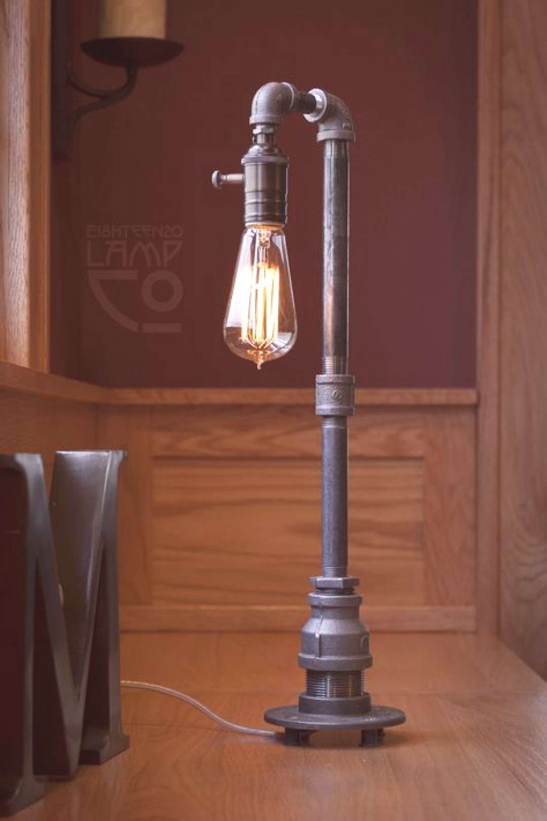 At the Ei8hteen20 Lamp Co., we handcraft odd little lamp creations from industrial pipe, fabric, me