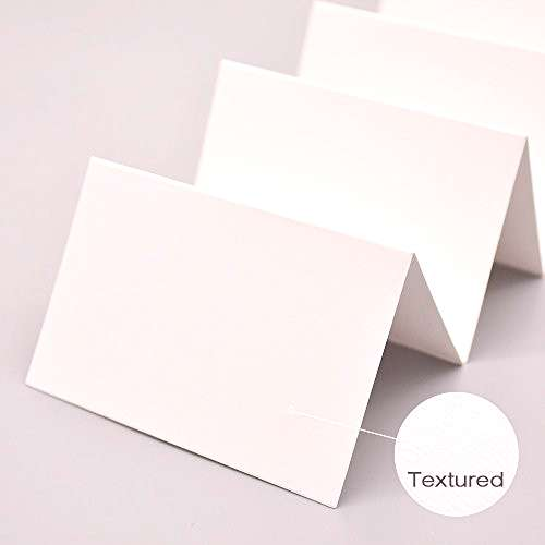 AZAZA 50 Pcs White Blank Place Cards - Textured Table Tent