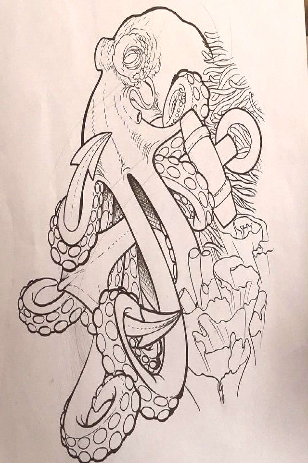 Black Outline Pirate Octopus With Anchor Tattoo Design ... - Black Outline Pirate Octopus With Anc