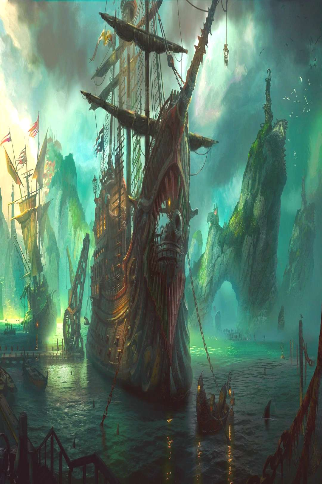 brown and black pirate ship League of Legends fantasy art