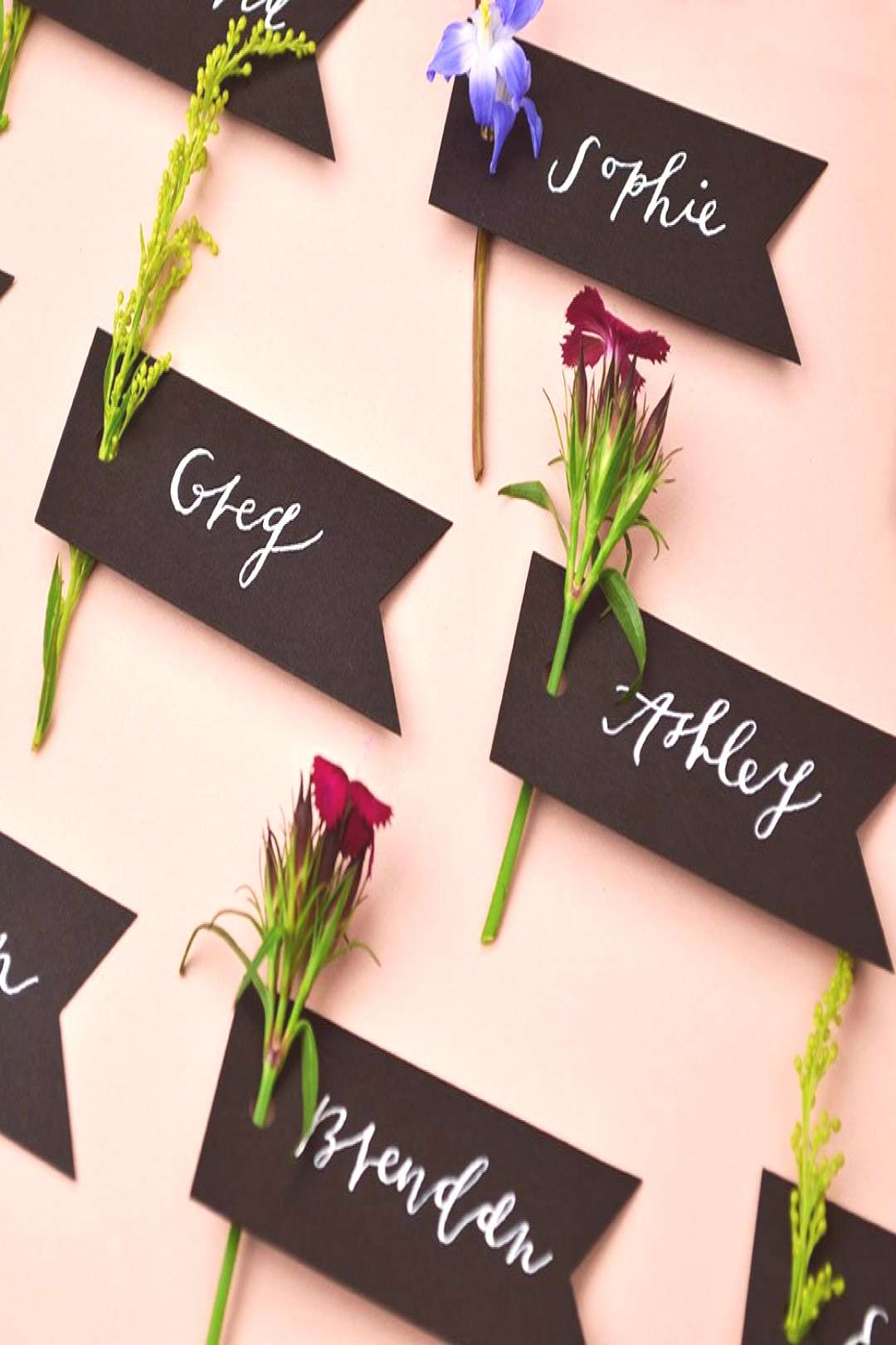 cover-photo-Spring-Wedding-Place-Card-Ideas-Black-Paper-Flag-Tag