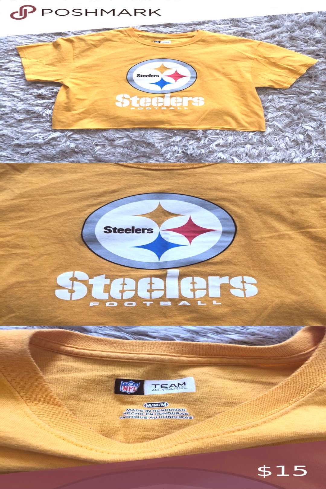 Cropped Steeler's tee Yellow cropped Pittsburgh Steelers Football t-shirt 100... Cropped Steeler