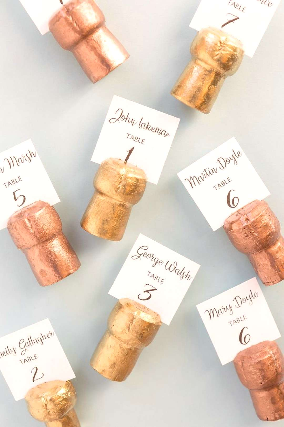 DIY Champagne Cork Place Card Holders -