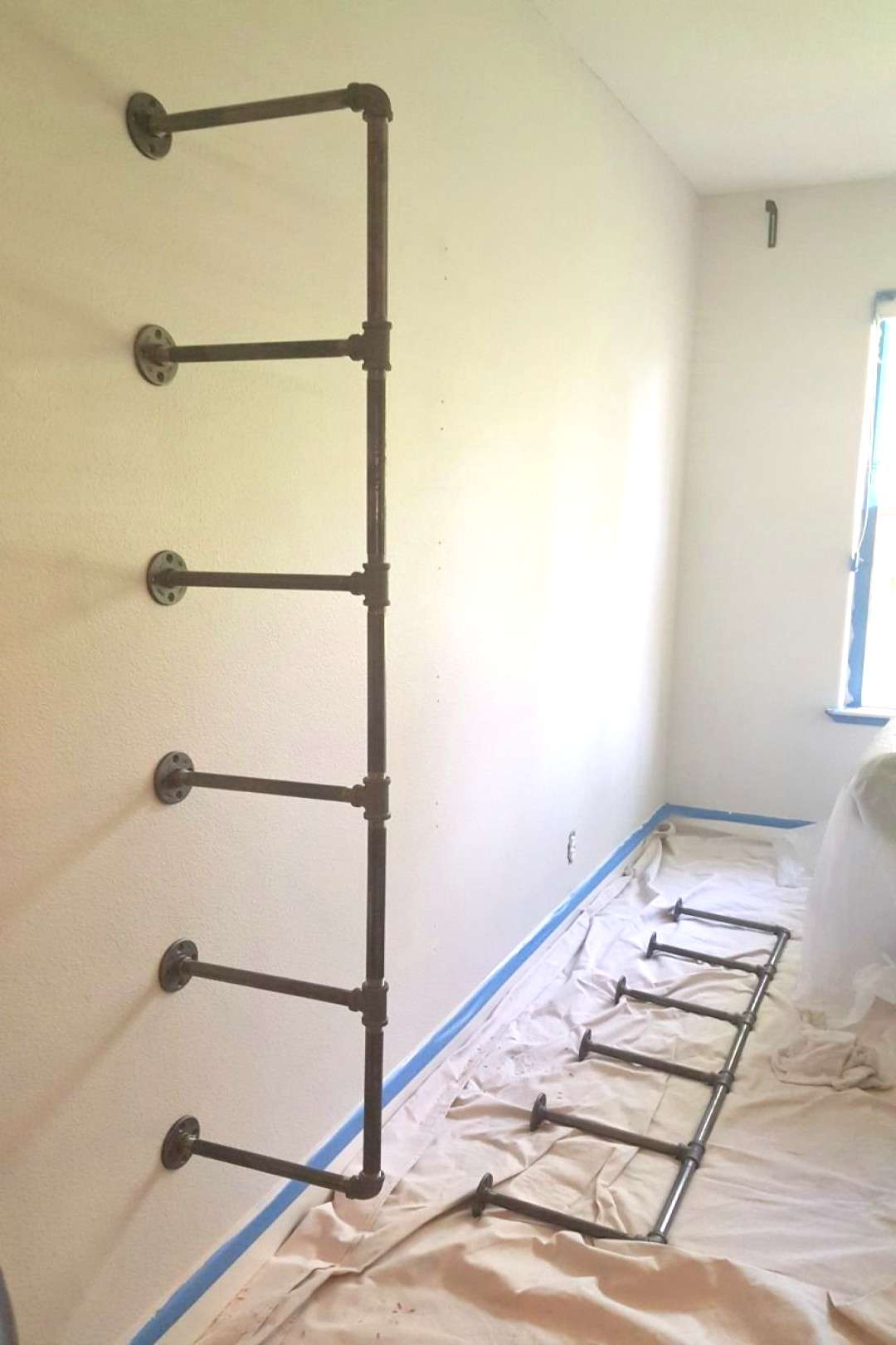 DIY industrial pipe shelves step by step process revealed