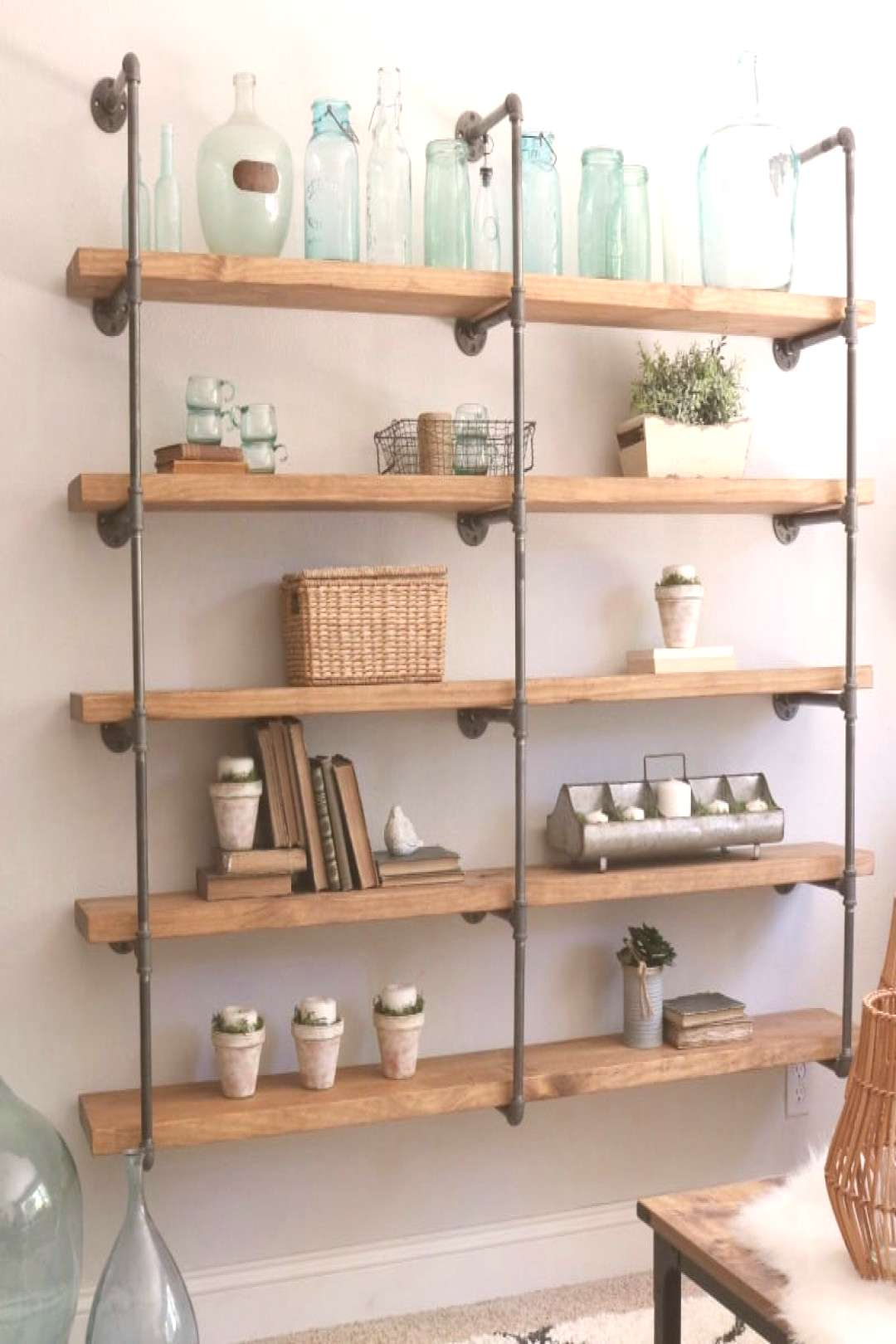 DIY industrial pipe shelves | Step by step tutorial on this shelf fun project